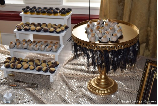 Great Gatsby 1920s party wedding dessert buffet gold cake stand