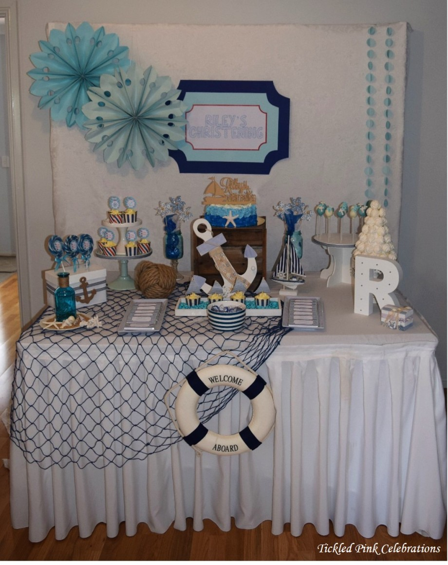 Nautical Baptism Christening cake party table