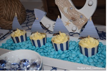 Nautical Baptism Christening party table sailing boat cupcakes