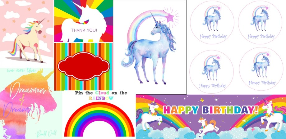 Unicorn Party Printables group.jpg