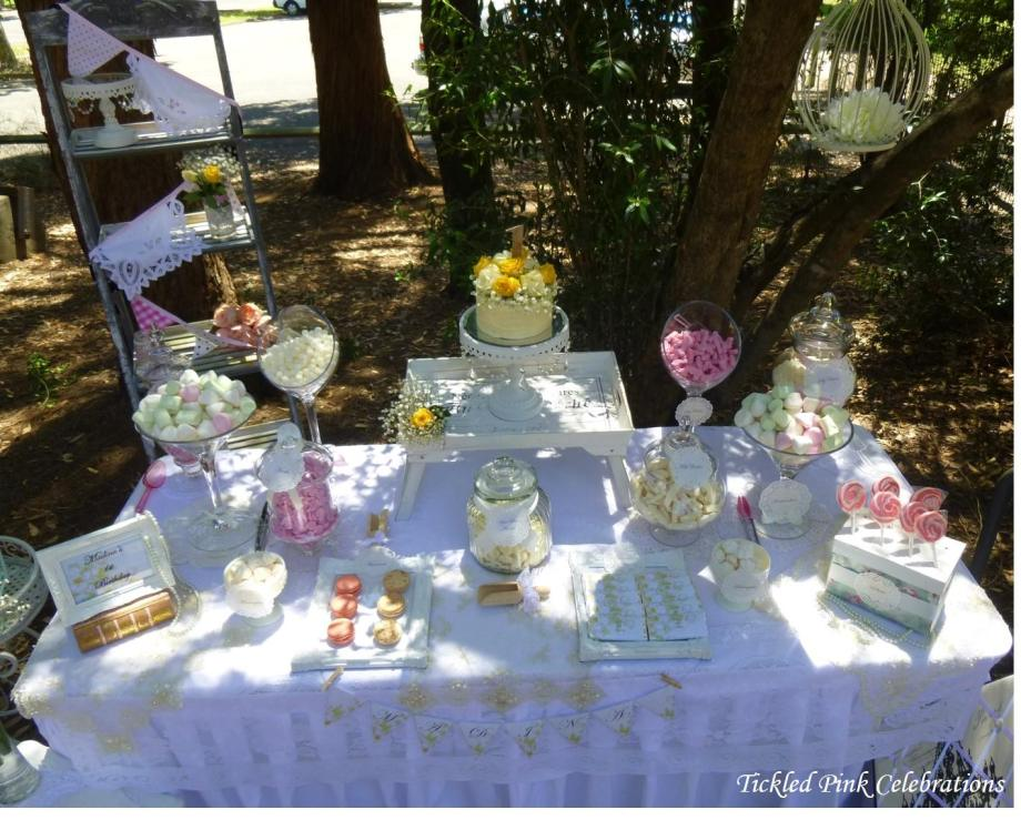 Vintage 1st BDay Party lolly buffet2