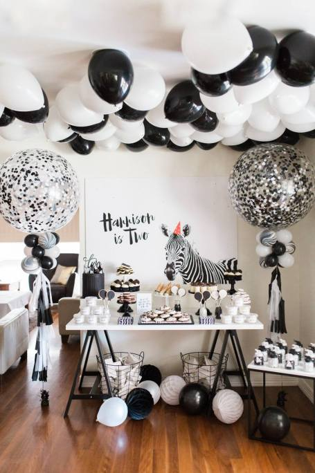 Black and White Monochrome zebra safari boys party - The Sugar Topped Table