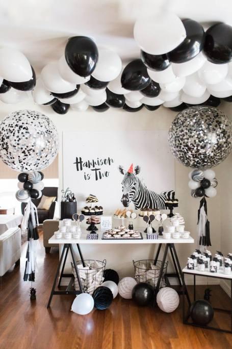 Black and White Monochrome zebra safari boys party - The Sugar Topped Table