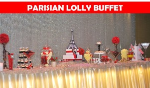Parisian themed lolly buffet engagement party Icon