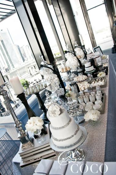 Wedding Candy & dessert buffet-black and white - Styled By Coco