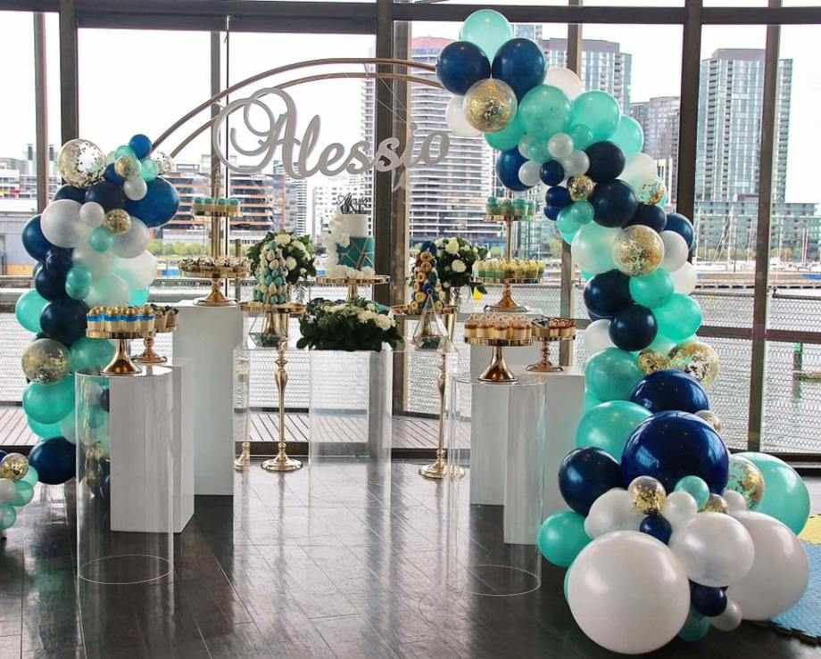 Blue Gold White 1st birthday party1