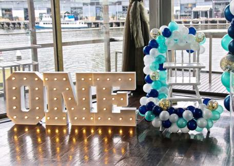 Blue Gold White 1st birthday party7
