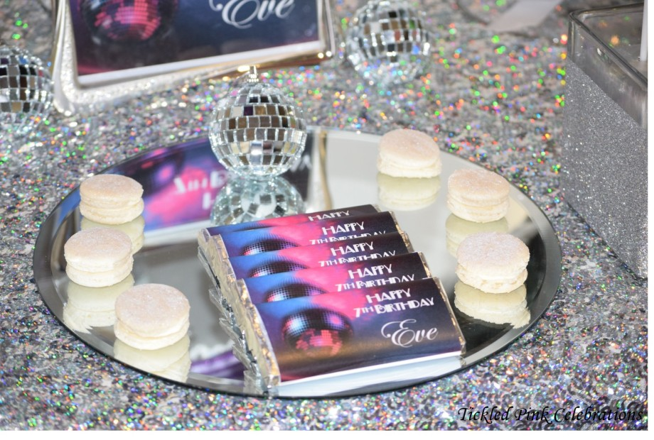 Kids Disco birthday party table lolly buffet-macarons and chocolate bars