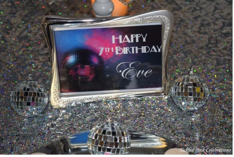 Kids Disco birthday party table lolly buffet personalised signage