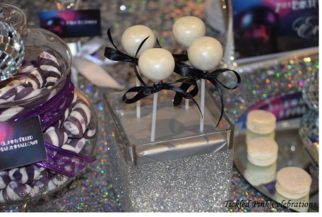 Kids Disco birthday party table lolly buffet-silver cake pops