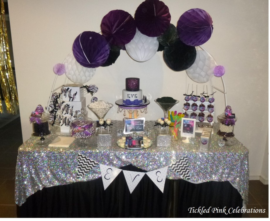 Kids Disco birthday party table lolly buffet2