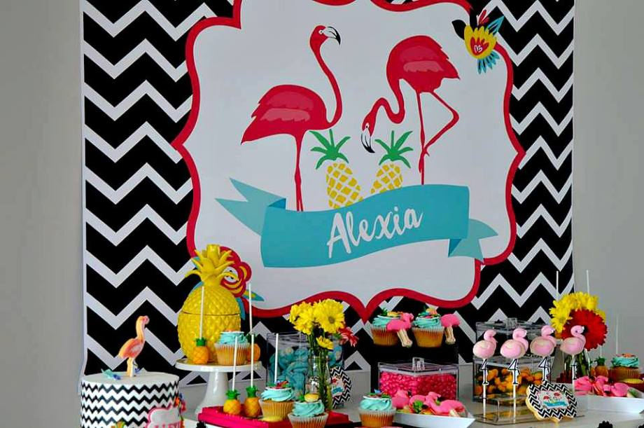 Funky Tropical Party - Backdrop design by Giggles and Grace