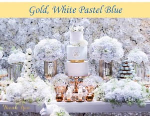 Gold & Pastel Blue Christening Party Icon