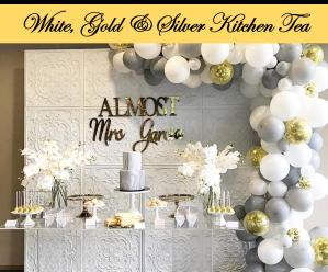 White gold silver kitchen tea bridal shower dessert buffet Icon