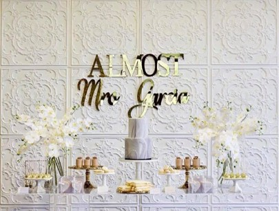 White gold silver kitchen tea bridal shower dessert buffet2