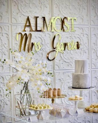 White gold silver kitchen tea bridal shower dessert buffet3