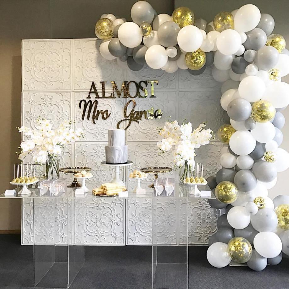 White gold silver kitchen tea bridal shower dessert buffet4
