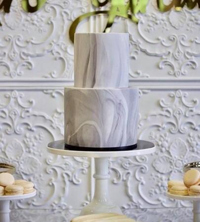 White gold silver kitchen tea bridal shower dessert cake